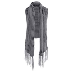 Sweaters - NEW Gray Ribbed Fringe Sweater Vest